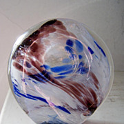 Signed vintage Swirled Dome Glass Paperweight