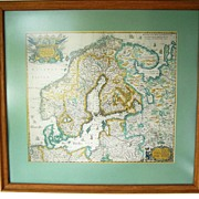 Circa 1600 Map Framed Matted of Northern Europe 24""