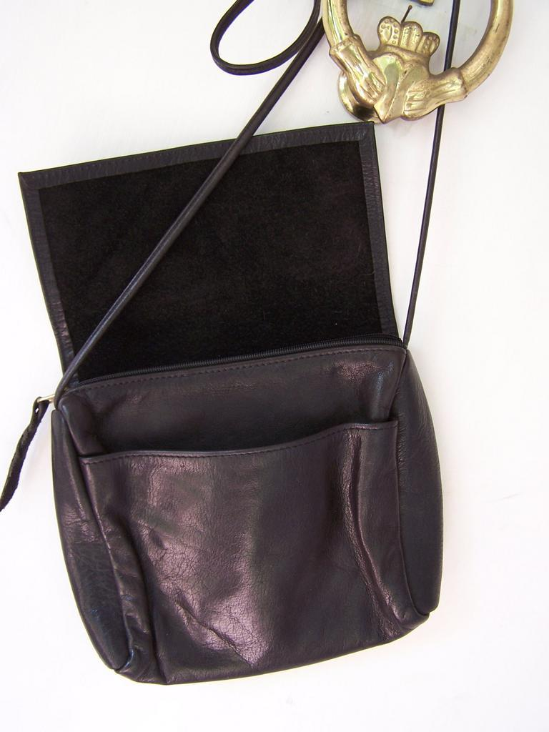 Supple Black Leather Flap Over Cross Body shoulder bag