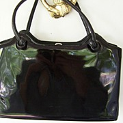 Large Black Patent Vintage Handbag 13""
