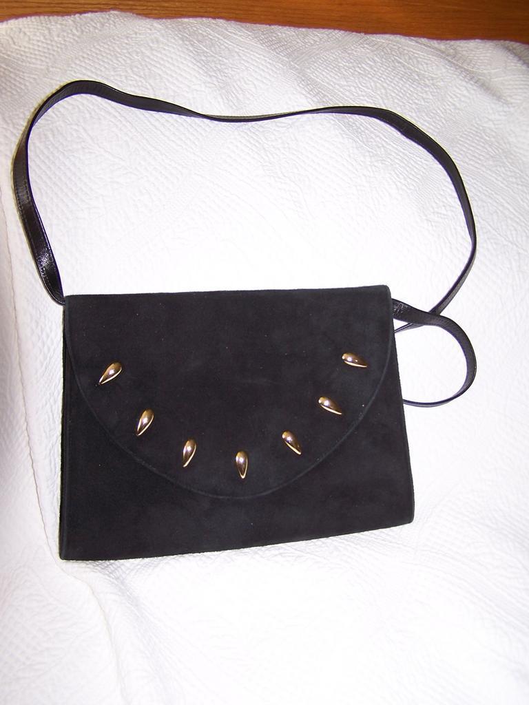 Spanish Black Suede Leather  Shoulder Bag Clutch convertible mint!