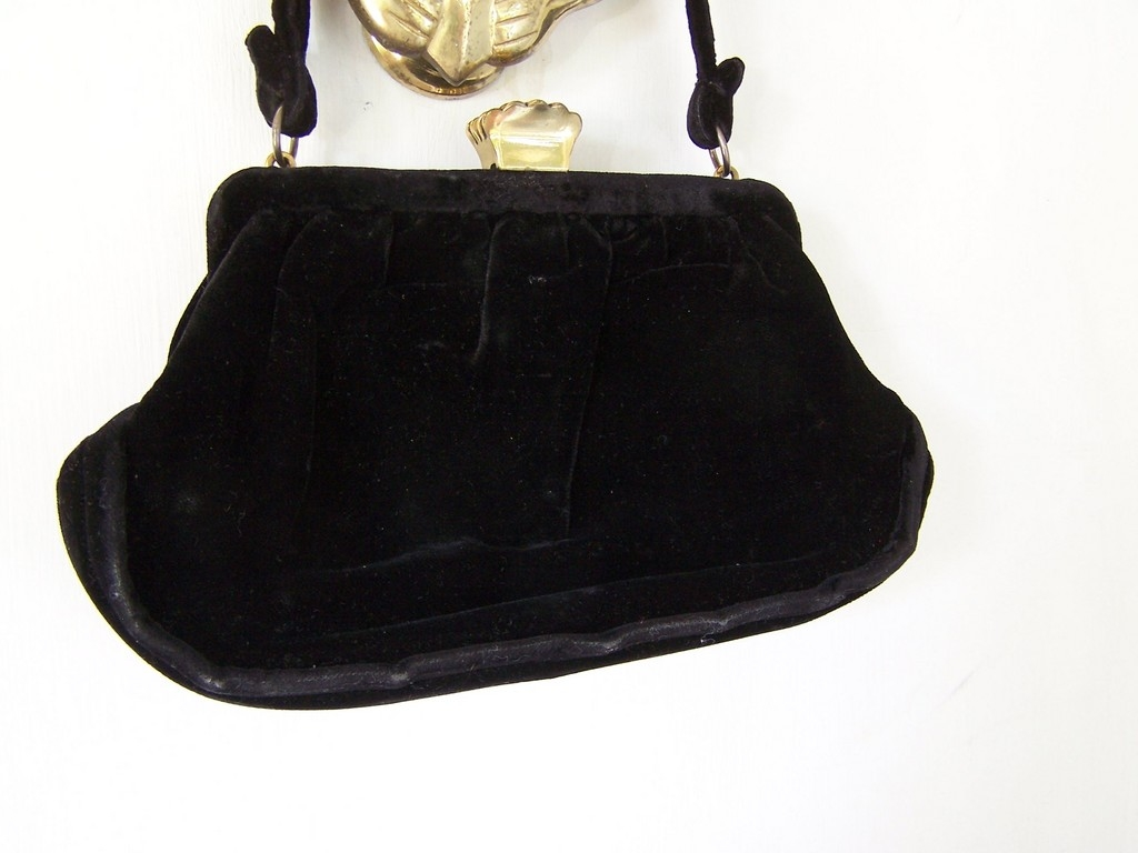 L&M Black Velvet Handbag with Crown Clasp from kitchengarden on ...