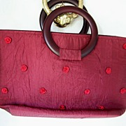 100% BurgundySilk Handbag with Red Silk Roses ~ Mint!