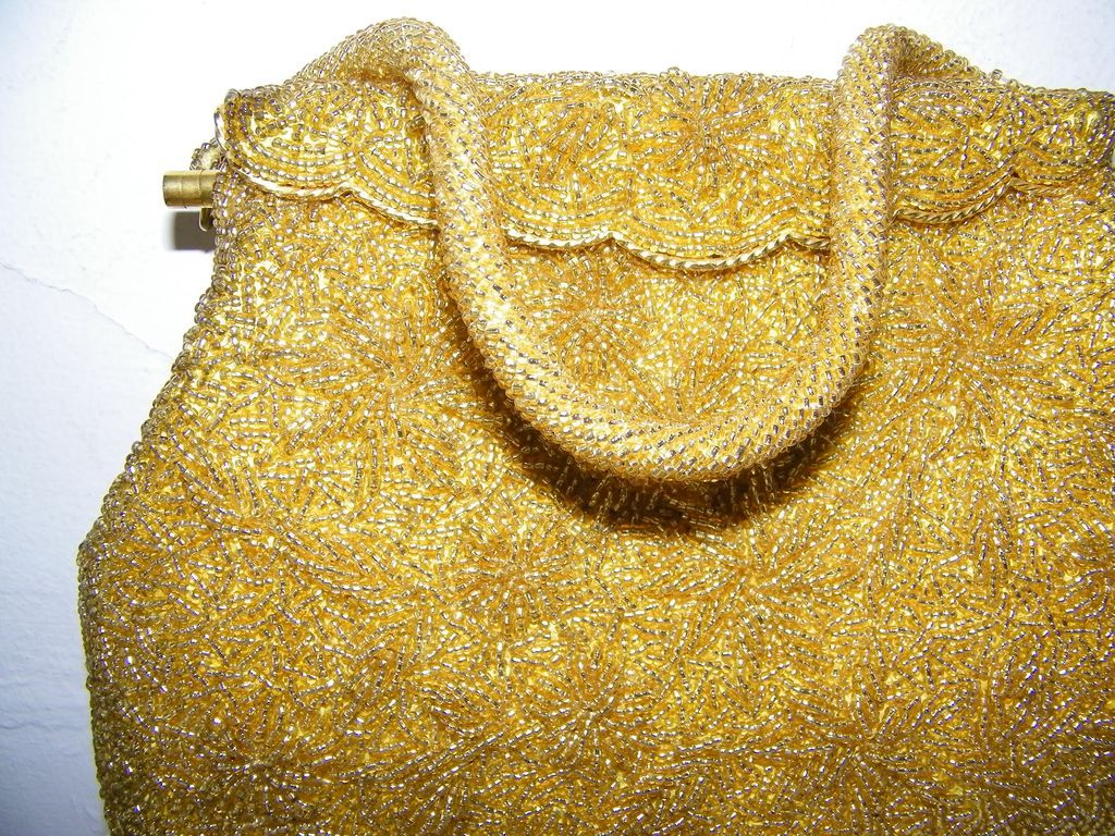 Shimmery Gold Glass Bead Evening Bag  Hand Made