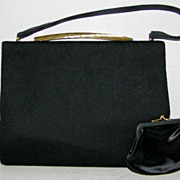 Morris Moskowitz Black Wool Felt Handbag &  Mirror & Coin Purse