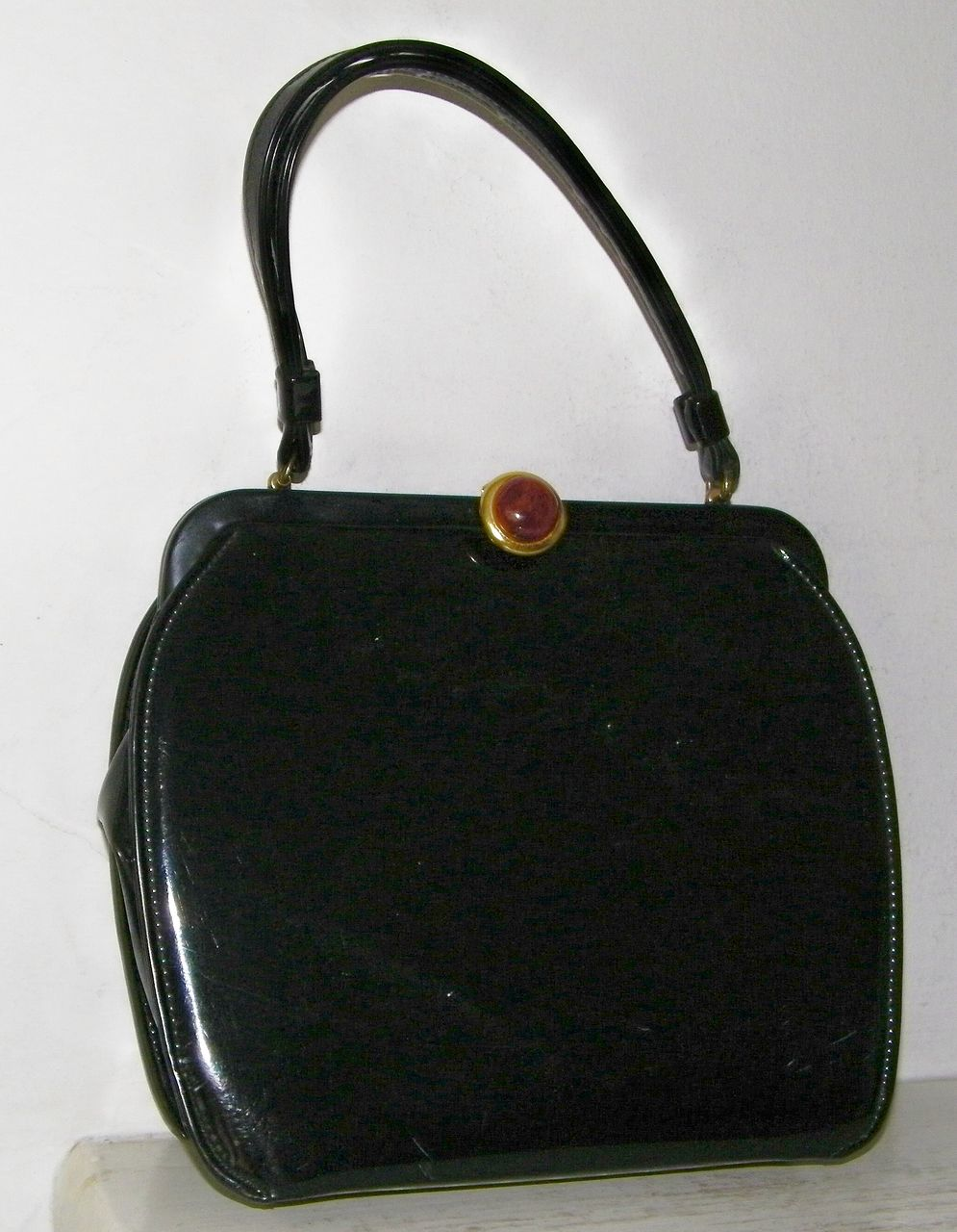 Black Patent Handbag Root Beer Lucite Clasp