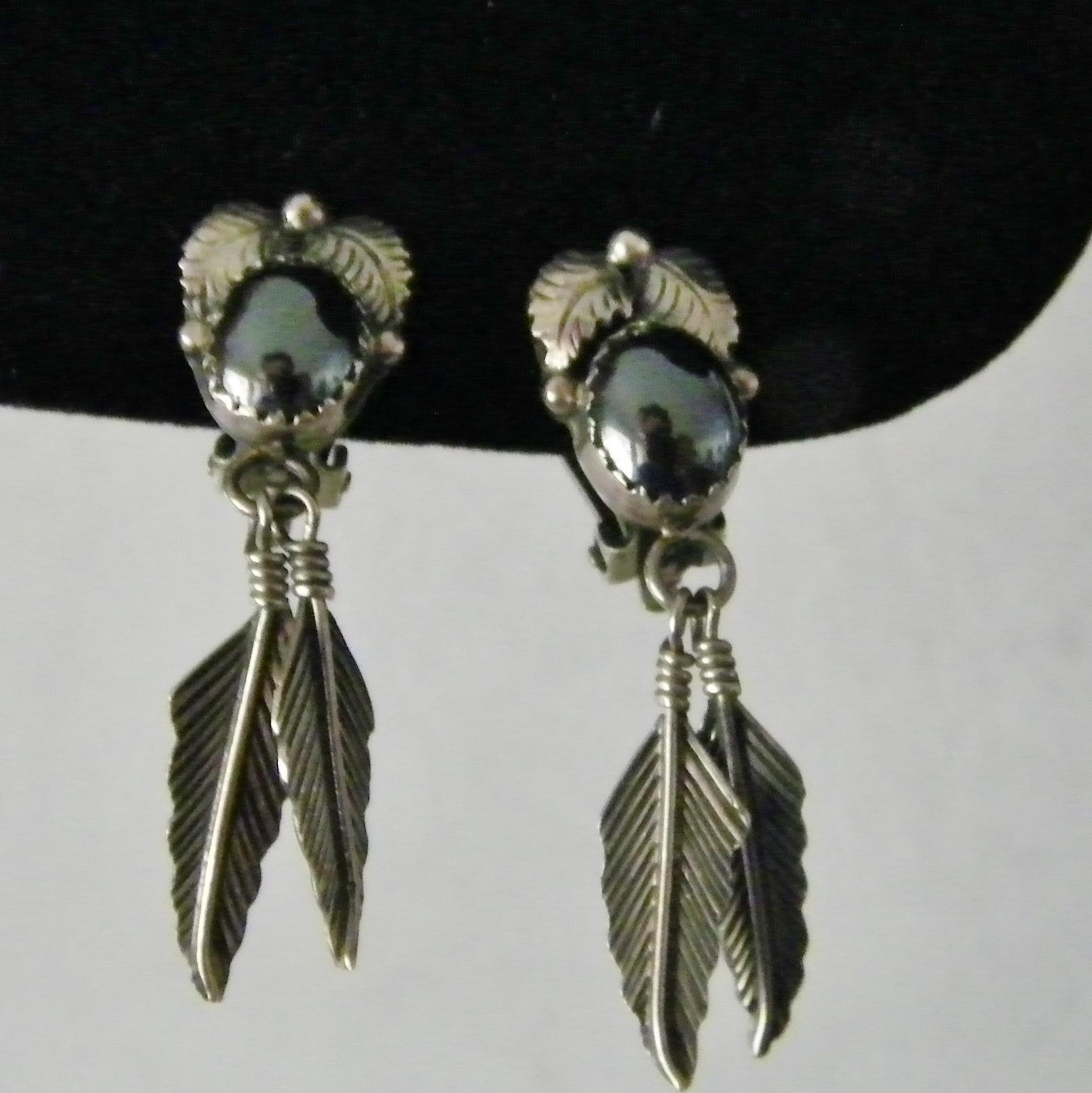 Sterling Silver and Hematite Leaf and Feather Clip Earrings