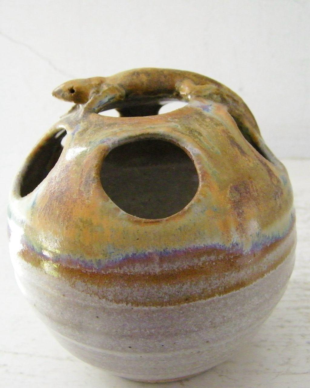Vintage, Signed Art Pottery Figural Floral Frog