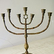 Antique Brass Shabbat Menorah