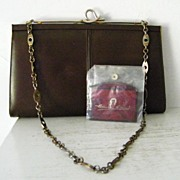Etienne Aigner Brown Leather  Shoulder Bag Clutch and  Mirror