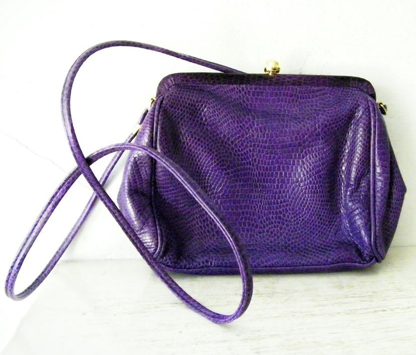 Italian Purple Lizard Leather Shoulder Purse Cross Body Bag (snakeskin)