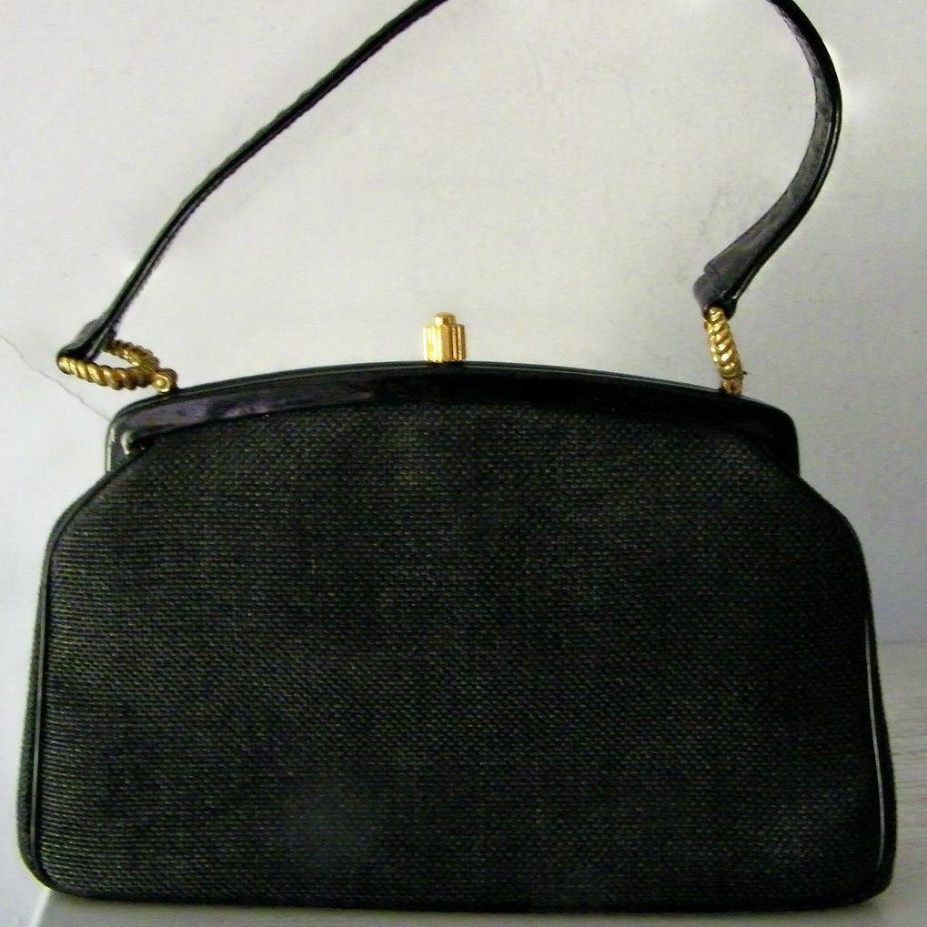 Morris Moskowitz Black Fabric & Patent Handbag w' Coin Purse