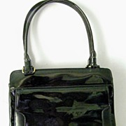 Black Patent Handbag Multiple Compartments Mint!