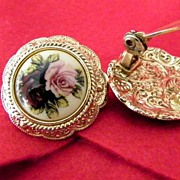 Large Enamel Earrings Pink and Red Roses