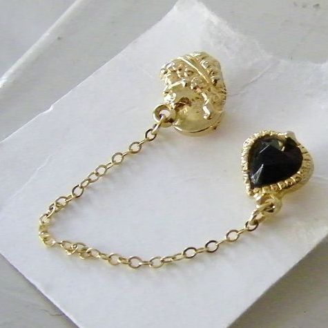 Vintage Goldtone Red Heart & Victorian Girl Scatter Pin