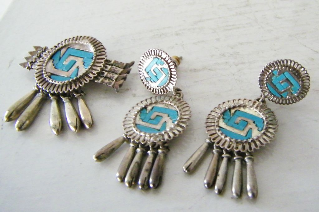 Sterling Silver Turquoise Yanhuitlan Brooch or Pendant  Earring Set Mexico