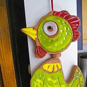 vintage Pacific Stoneware Wind Chimes Bird mint condition