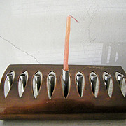 Unique Signed Copper and Steel Menorah Vintage Contemporary