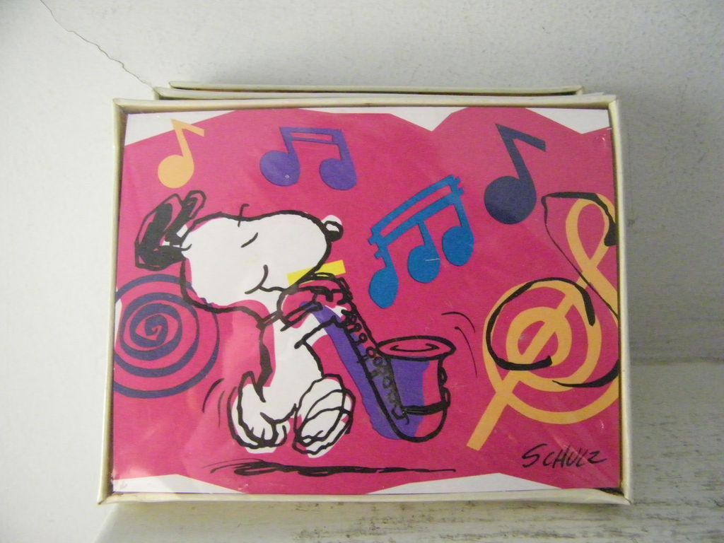 2 New Mint Vintage Snoopy Hallmark Blank Note Cards Packages