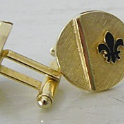 Signed fleur de lis goldtone cuff links
