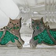 Cat Earrings Mexican Alpaca Silver