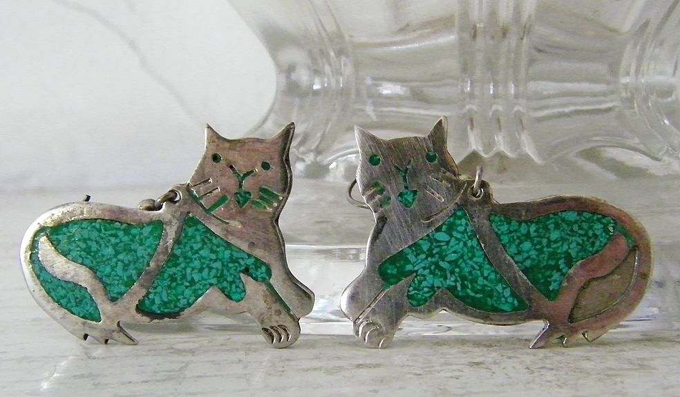 Cat Earrings Mexican Alpaca Silver