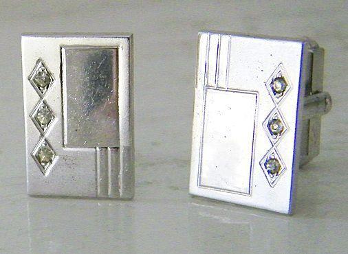 Sterling Diamond Rhinestone Cufflinks