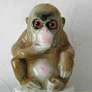 Porcelain  Book End Contemplative Monkey