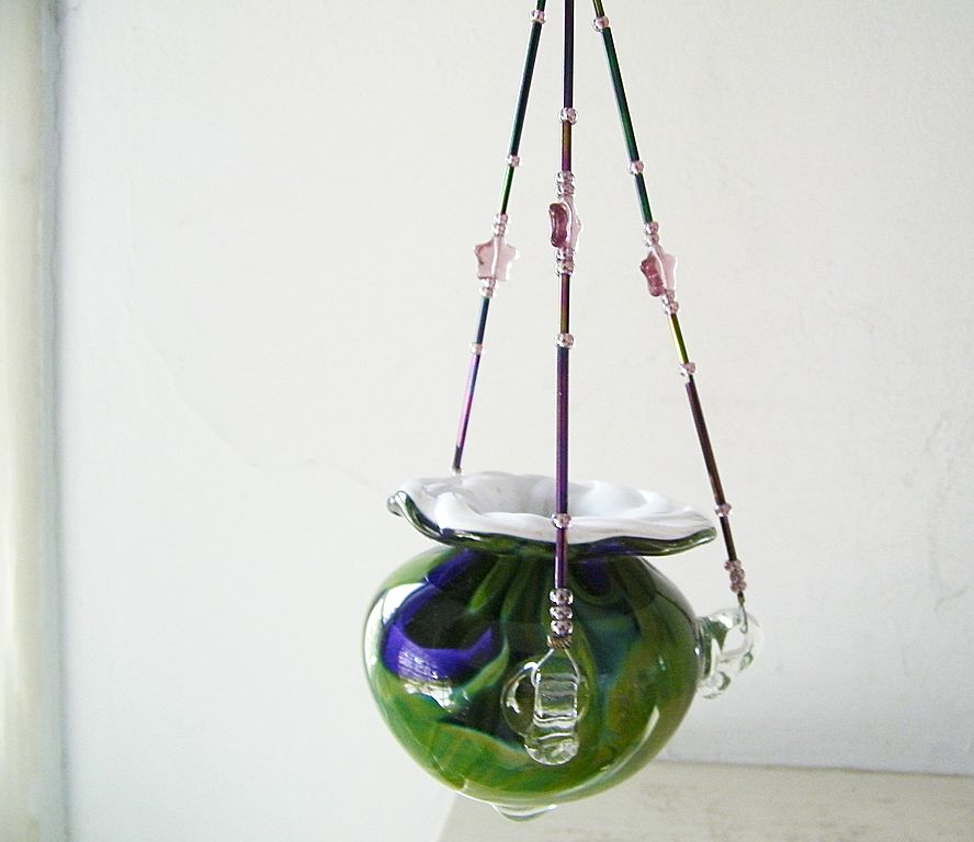 Swirled Colored Art Glass Hanging Vase Plant Or Votive