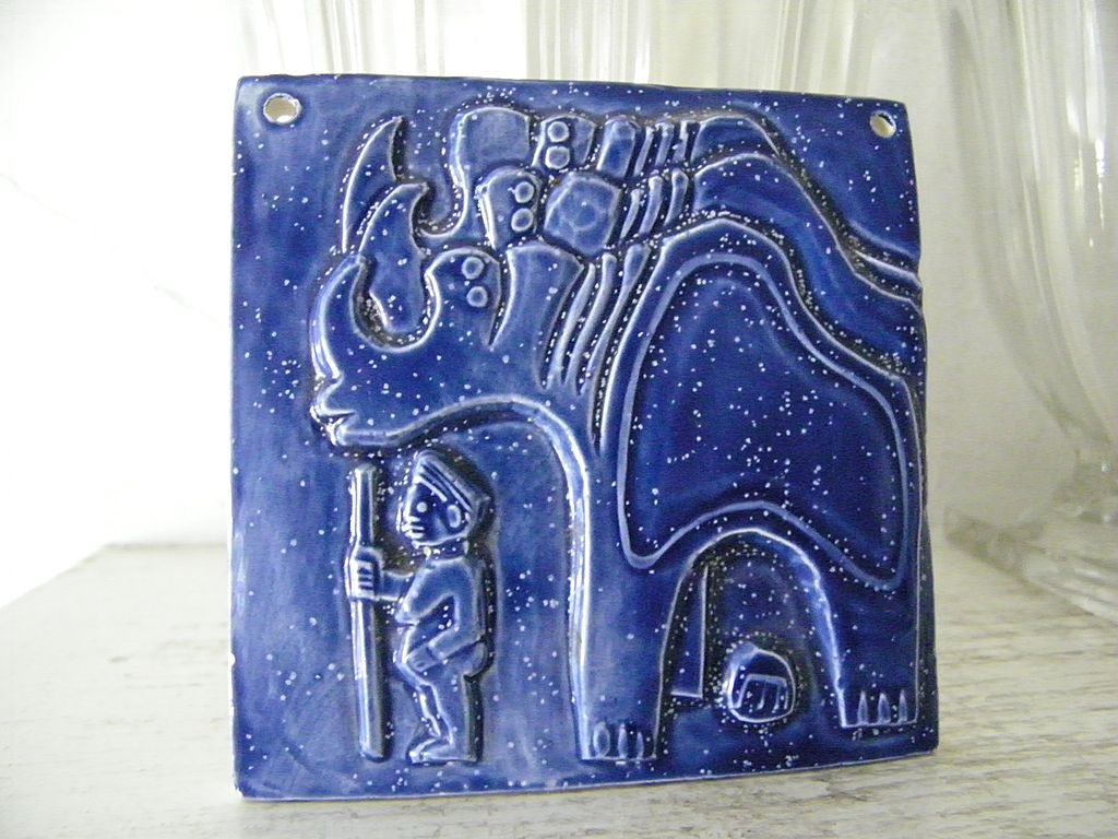Blue Ceramic Art Tile stylistic Bas Relief