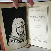 Samuel Pepy's Diary 1932 1st Edition  Book with Woodcuts - Red Tag Sale Item