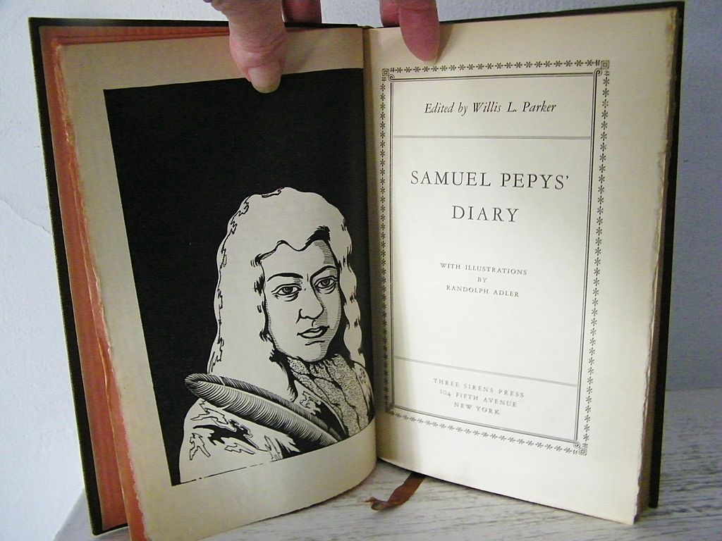 Samuel Pepy's Diary 1932 1st Edition  Book with Woodcuts