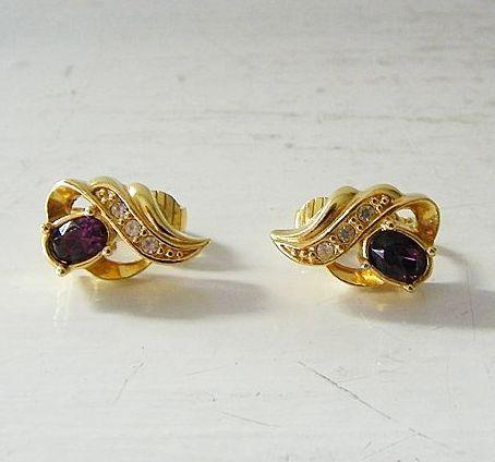 Avon Faux Amethyst & Diamond Clip Earrings