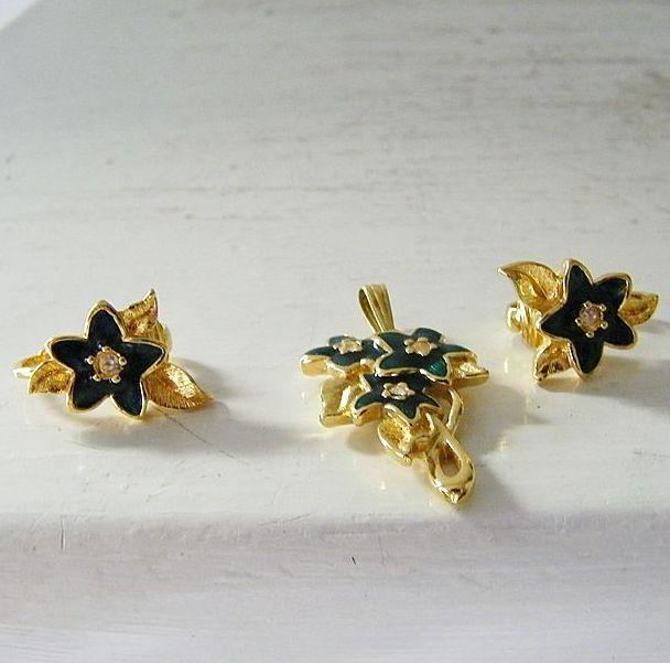 Blue Stars & Rhinestones Pendant & Earring Set