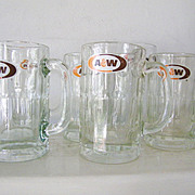 9 Assorted Sizes A and W Vintage Root Beer Glass Mugs