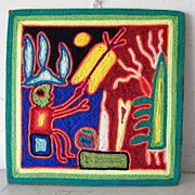 Mexican Huichol Yarn Painting Folk Art Signed
