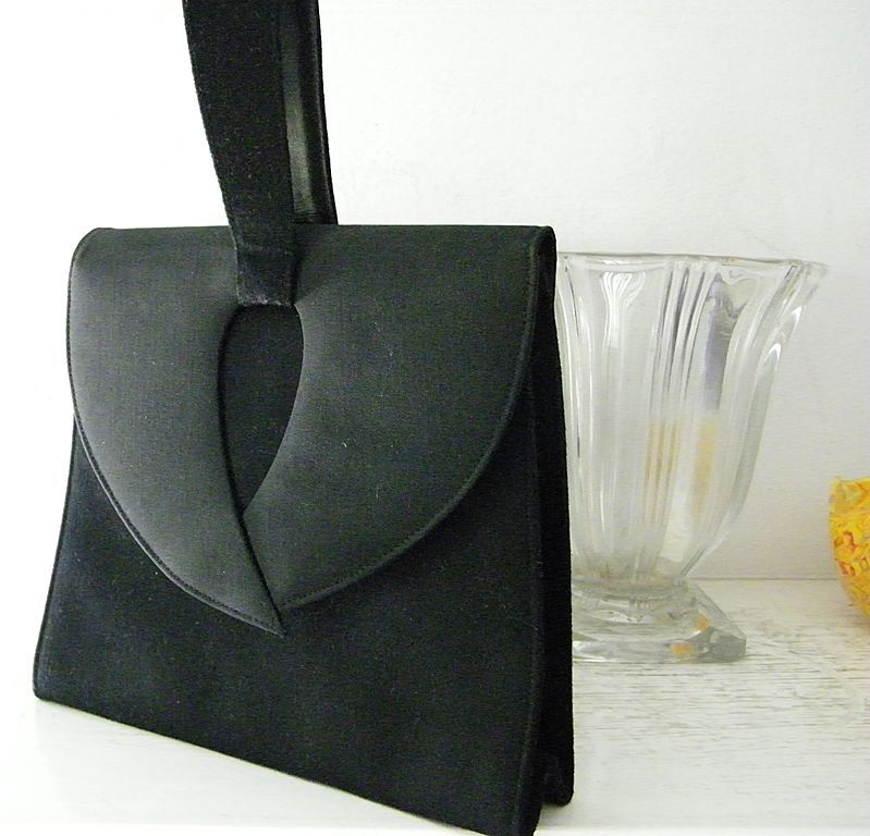 Lennox Black Wool Crepe and Wool Felt Purse Swagger Handle