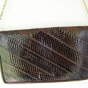 Brown Leather Snakeskin Clutch convert to Shoulder Bag
