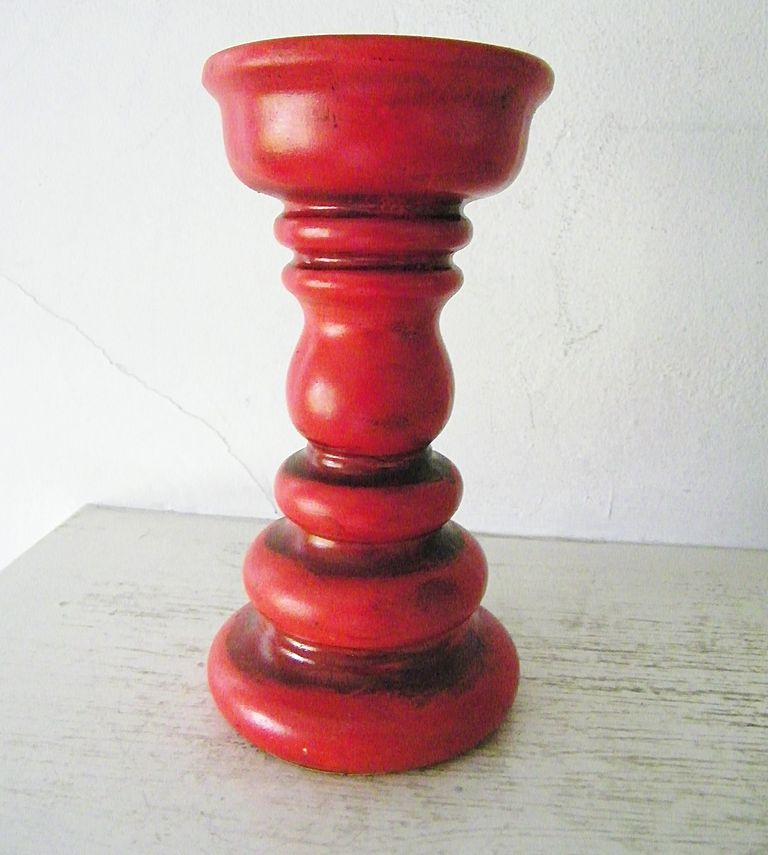 Groovy Huge Red Ceramic Pillar Candlestick circa 1970