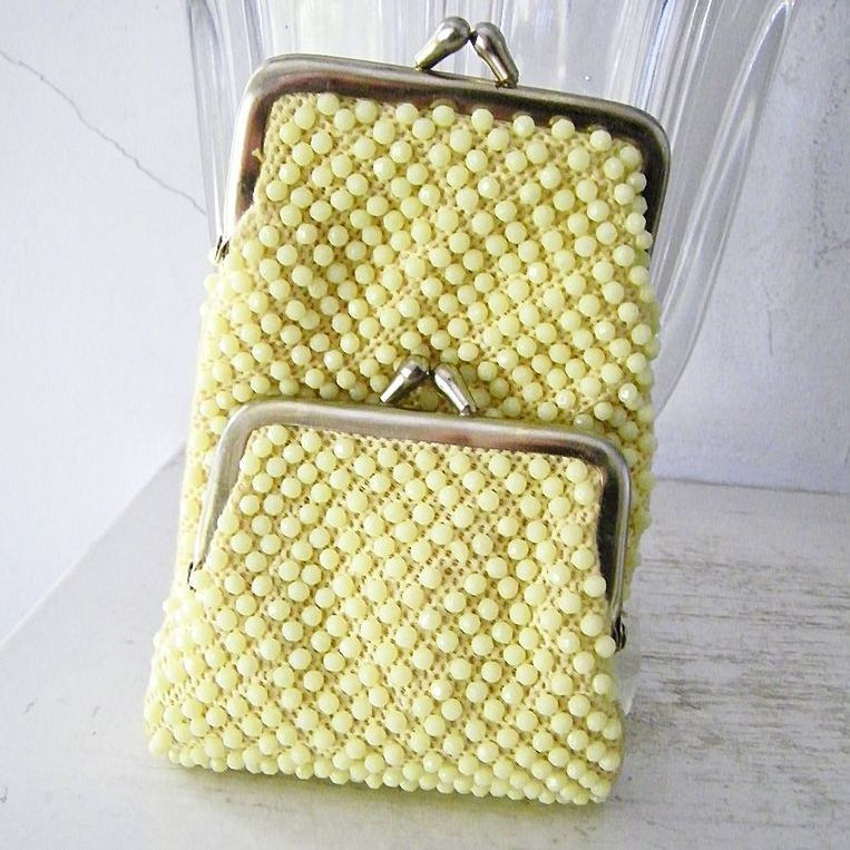 Yellow Beaded Cigarette Case mint