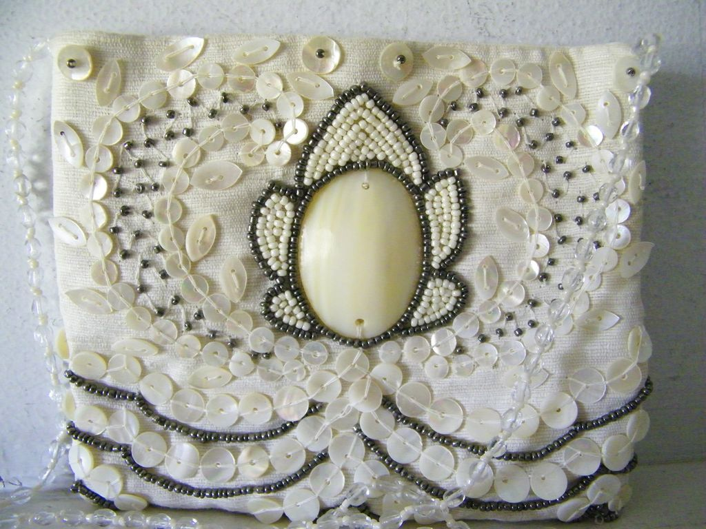 Moyna beaded Bridal Purse Evening Shoulder Bag Mint!