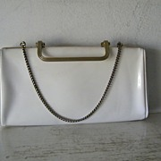 White patent convertible clutch / handbag
