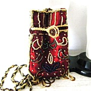 Beaded Satin Crossbody Evening Bag Pouch
