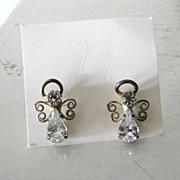 Vintage Rhinestone Angel Earrings