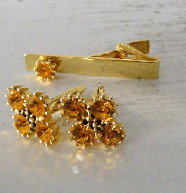Yellow Rhinestone Cufflinks & Tie Bar Set