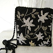 Glass & Silver Beaded Sequined Evening Purse Shoulder Bag