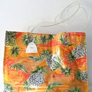 Hawaiian  Sand and Sun Pineapple Cotton & Vinyl Tote New & Mint!