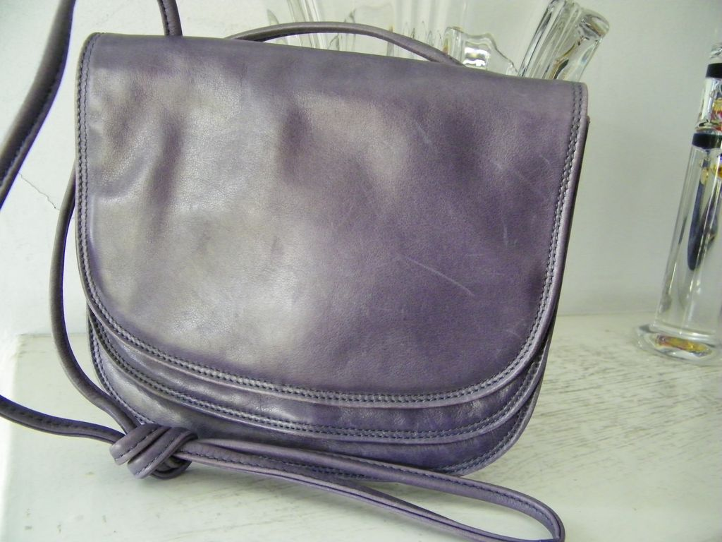 Francesco Biasia Italian Purple Leather Flap Over Shoulder Bag