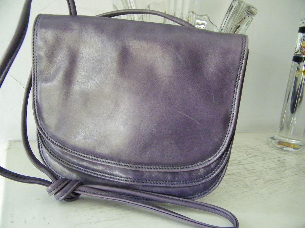 Francesco Biasia Italian Purple Leather Flap Over Shoulder Bag