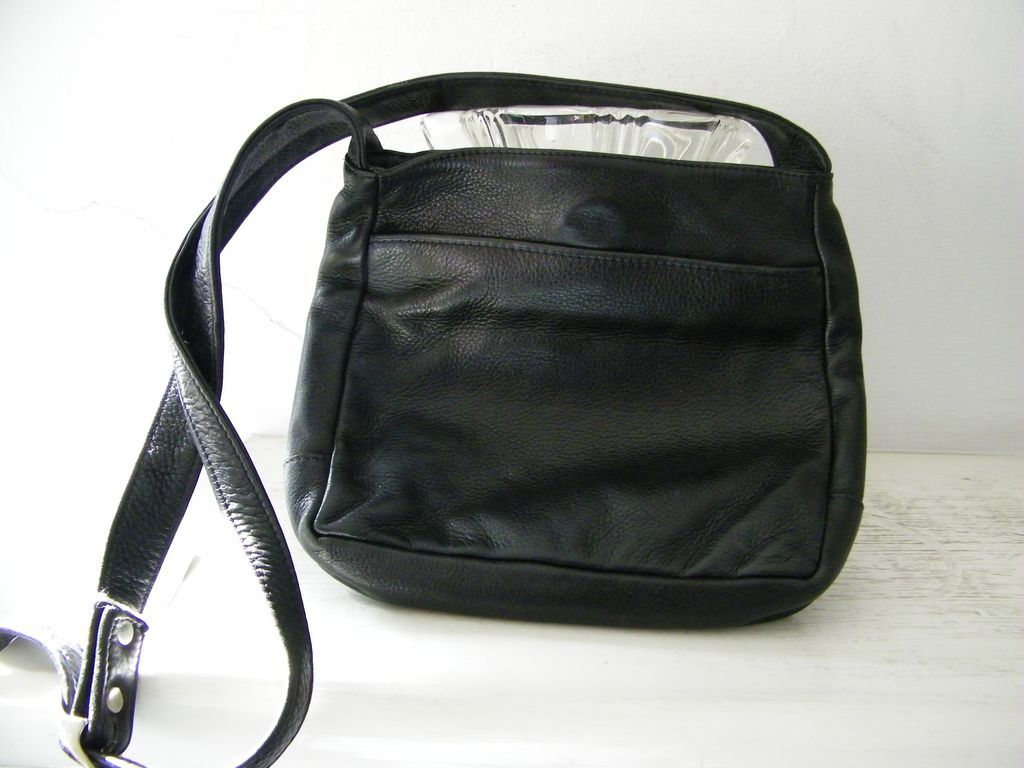 Libaire City Lights Hobo Shoulder Bag Black Leather